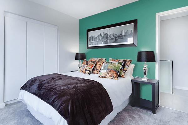 Pretty Photo frame on Illuminating Emerald color Bedroom interior wall color