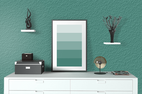 Pretty Photo frame on Illuminating Emerald color drawing room interior textured wall