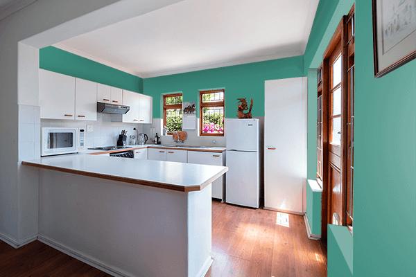 Pretty Photo frame on Illuminating Emerald color kitchen interior wall color
