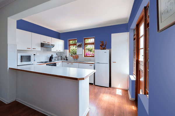 Pretty Photo frame on Chinese Blue color kitchen interior wall color