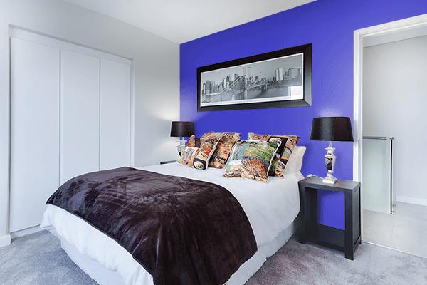 Pretty Photo frame on Ocean Blue color Bedroom interior wall color