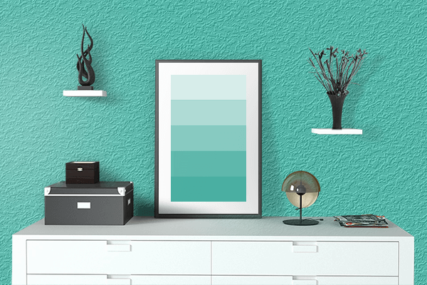 Pretty Photo frame on Eucalyptus color drawing room interior textured wall