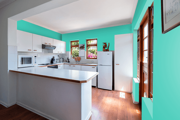 Pretty Photo frame on Eucalyptus color kitchen interior wall color