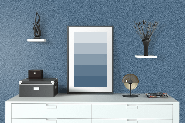 Pretty Photo frame on Queen Blue color drawing room interior textured wall