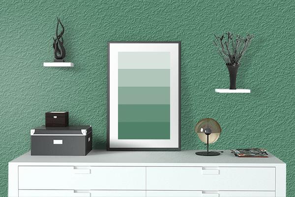 Pretty Photo frame on Deep Aquamarine color drawing room interior textured wall