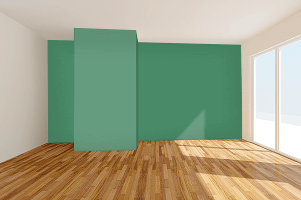 Pretty Photo frame on Deep Aquamarine color Living room wal color