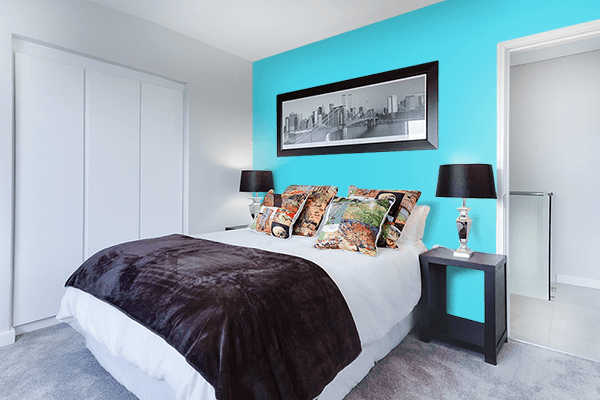 Pretty Photo frame on Turquoise color Bedroom interior wall color