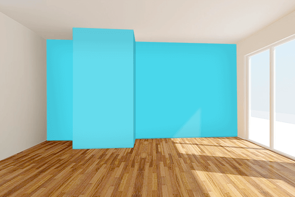 Pretty Photo frame on Turquoise color Living room wal color