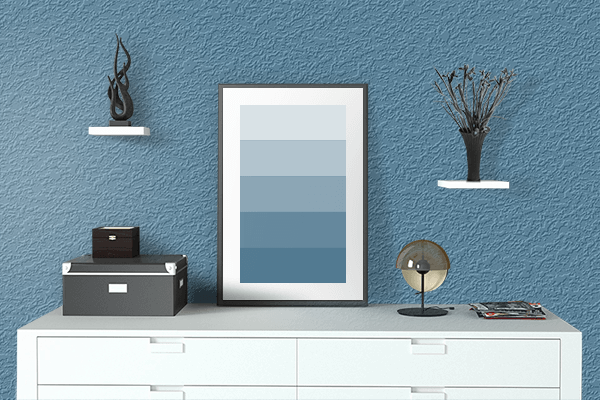 Pretty Photo frame on Blue Yonder color drawing room interior textured wall
