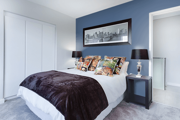 Pretty Photo frame on Dark Electric Blue color Bedroom interior wall color