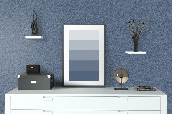 Pretty Photo frame on Dark Electric Blue color drawing room interior textured wall