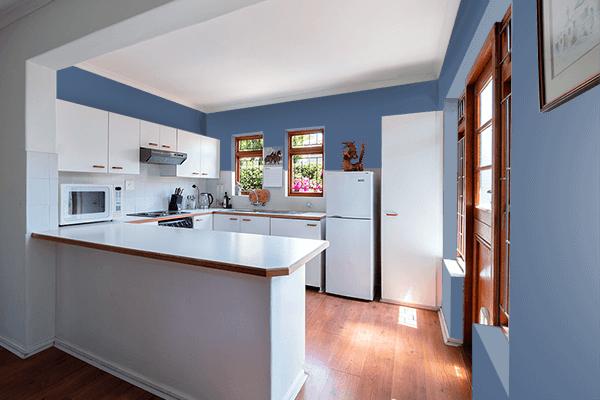Pretty Photo frame on Dark Electric Blue color kitchen interior wall color