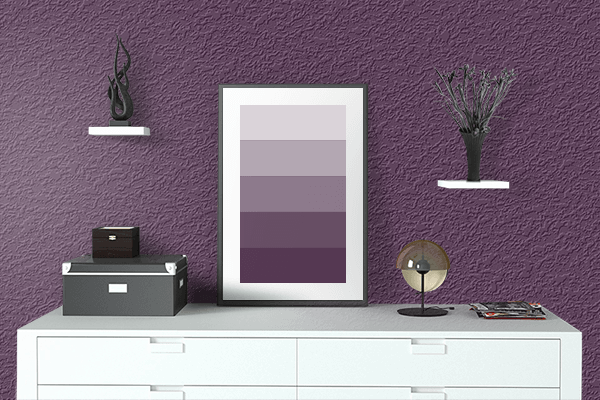 Pretty Photo frame on American Purple color drawing room interior textured wall