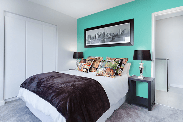 Pretty Photo frame on Verdigris color Bedroom interior wall color