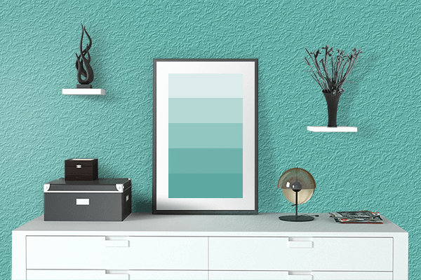 Pretty Photo frame on Verdigris color drawing room interior textured wall