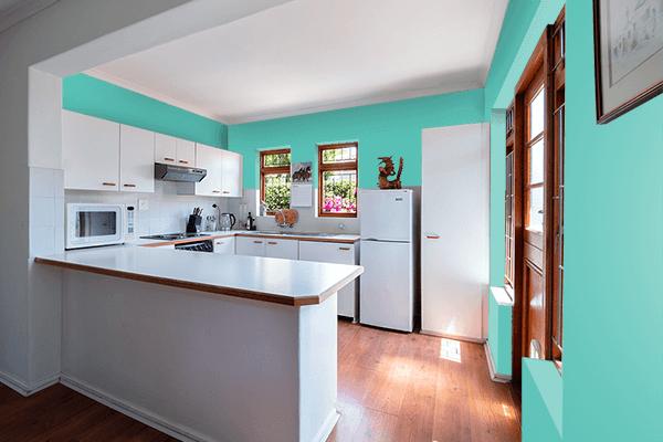 Pretty Photo frame on Verdigris color kitchen interior wall color
