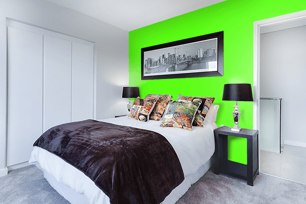 Pretty Photo frame on Bright Green color Bedroom interior wall color
