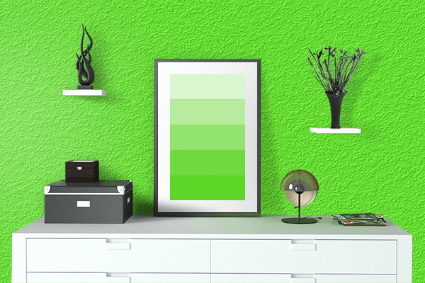 Pretty Photo frame on Bright Green color drawing room interior textured wall