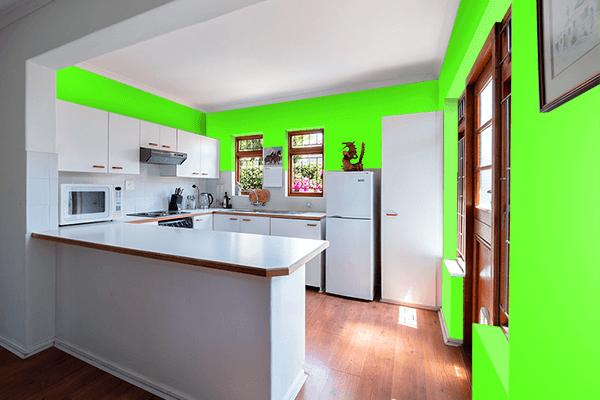 Pretty Photo frame on Bright Green color kitchen interior wall color