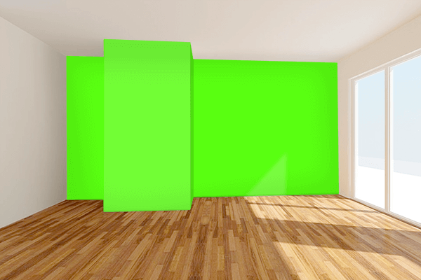 Pretty Photo frame on Bright Green color Living room wal color