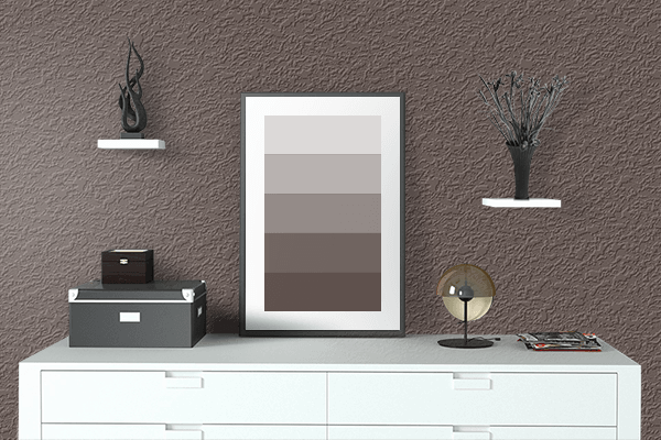 Pretty Photo frame on Umber color drawing room interior textured wall