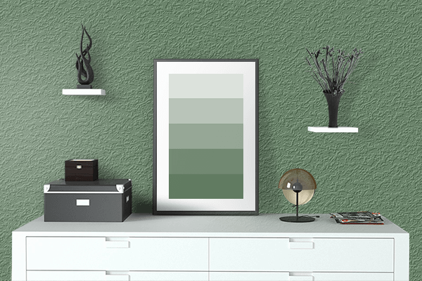 Pretty Photo frame on Axolotl color drawing room interior textured wall