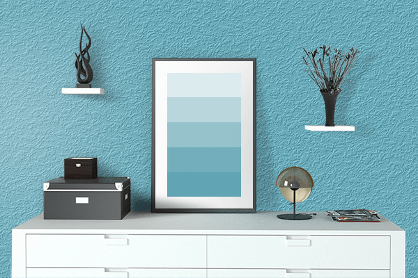 Pretty Photo frame on Sea Serpent color drawing room interior textured wall