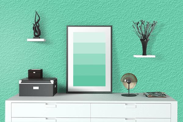Pretty Photo frame on Medium Aquamarine color drawing room interior textured wall