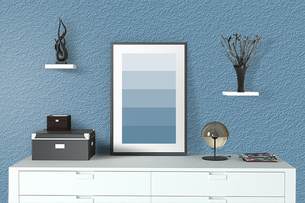 Pretty Photo frame on Crystal Blue color drawing room interior textured wall