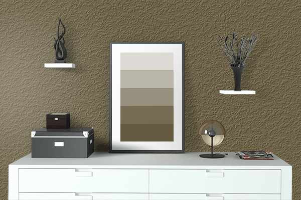 Pretty Photo frame on Coffee color drawing room interior textured wall