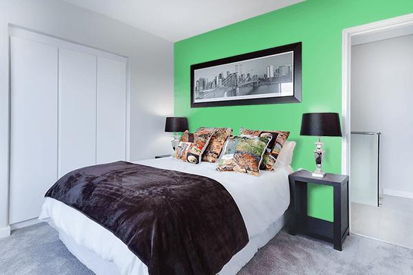 Pretty Photo frame on Emerald color Bedroom interior wall color