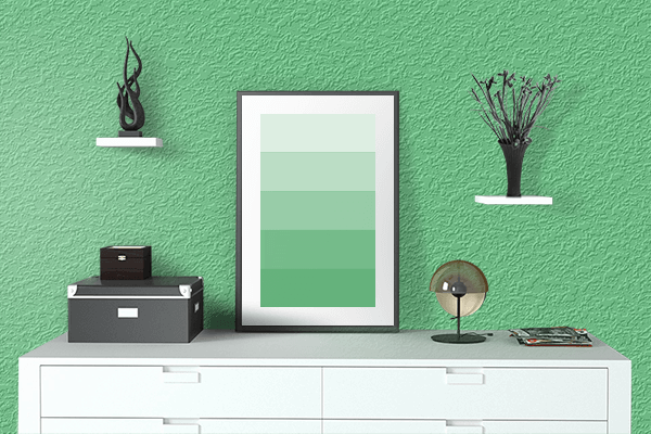 Pretty Photo frame on Emerald color drawing room interior textured wall