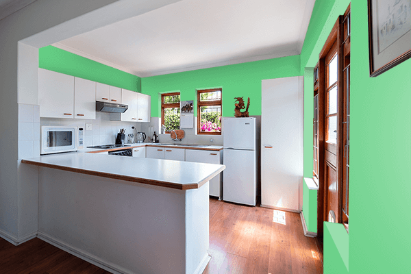 Pretty Photo frame on Emerald color kitchen interior wall color
