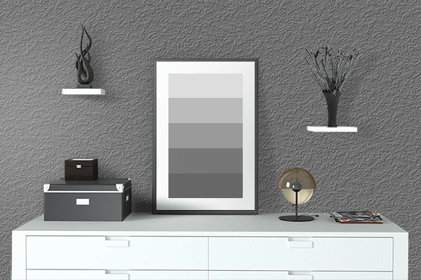 Pretty Photo frame on Dim Gray color drawing room interior textured wall