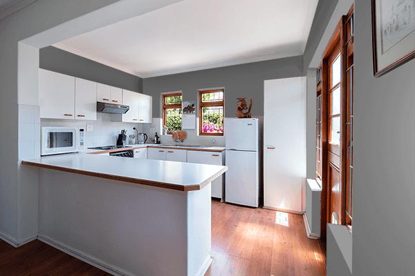 Pretty Photo frame on Dim Gray color kitchen interior wall color