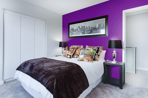 Pretty Photo frame on Chinese Purple color Bedroom interior wall color
