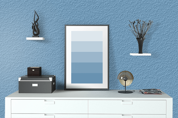 Pretty Photo frame on Iceberg color drawing room interior textured wall