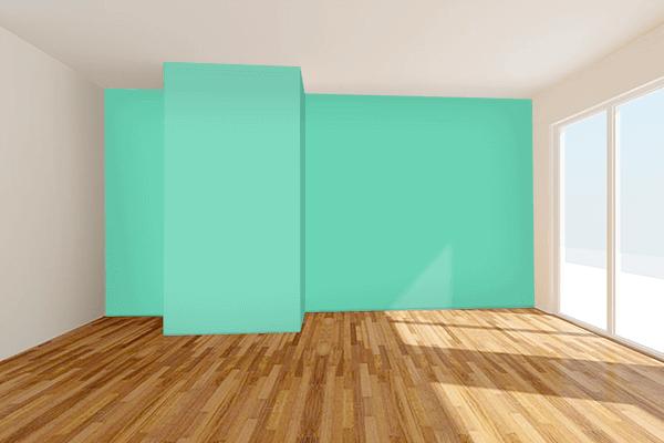 Pretty Photo frame on Medium Aquamarine color Living room wal color