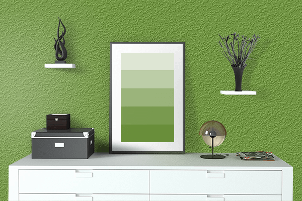 Pretty Photo frame on Olive Drab (#3) color drawing room interior textured wall