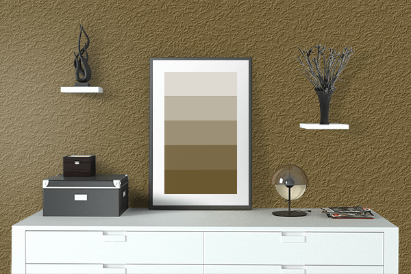 Pretty Photo frame on Field Drab color drawing room interior textured wall