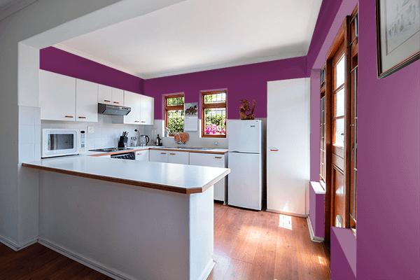 Pretty Photo frame on Byzantium color kitchen interior wall color