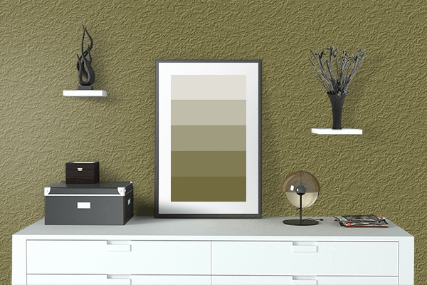 Pretty Photo frame on Mustard Green color drawing room interior textured wall