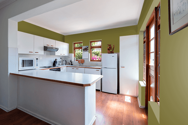 Pretty Photo frame on Mustard Green color kitchen interior wall color