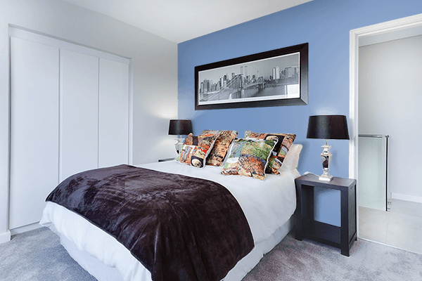 Pretty Photo frame on Cerulean Frost color Bedroom interior wall color