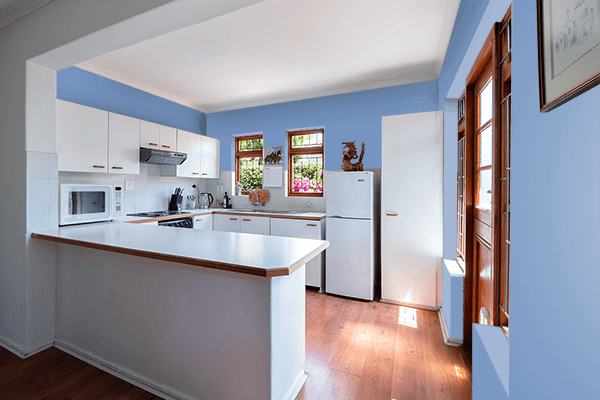 Pretty Photo frame on Cerulean Frost color kitchen interior wall color