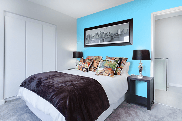 Pretty Photo frame on Pale Cyan color Bedroom interior wall color