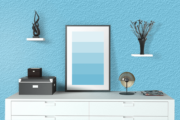 Pretty Photo frame on Pale Cyan color drawing room interior textured wall