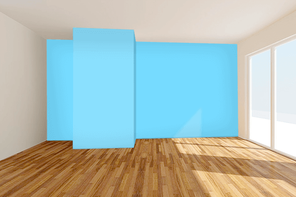 Pretty Photo frame on Pale Cyan color Living room wal color