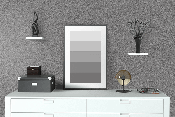 Pretty Photo frame on Sonic Silver color drawing room interior textured wall