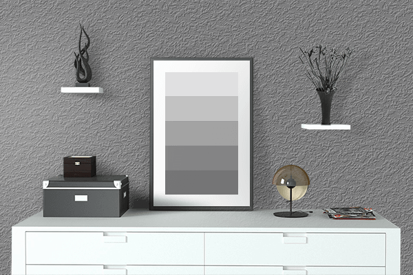Pretty Photo frame on Gray (HTML/CSS Gray) color drawing room interior textured wall